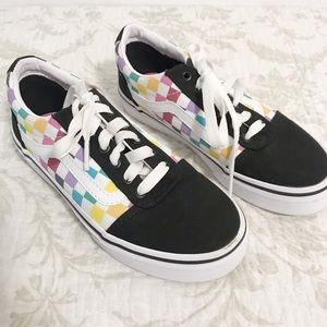 Girls Vans checkered rainbow sneakers skater shoes